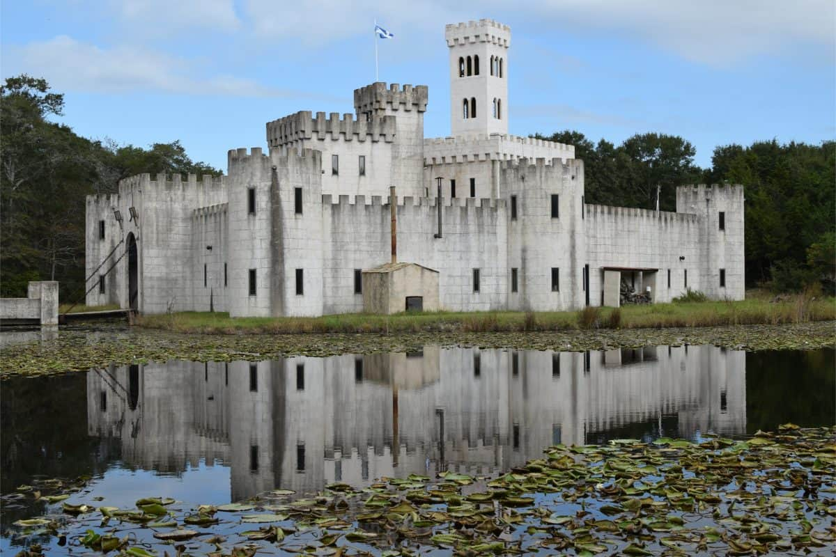 Texas - Impressive Newman's Castle Fortress in Bellville Texas USA with moat draw bridge lookout tower, 2017