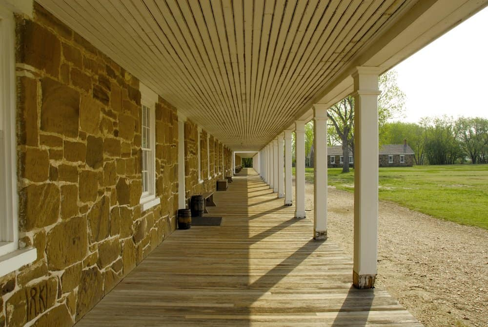 Kansas - Fort Larned - Front porch of enlisted mens quarters at the fort