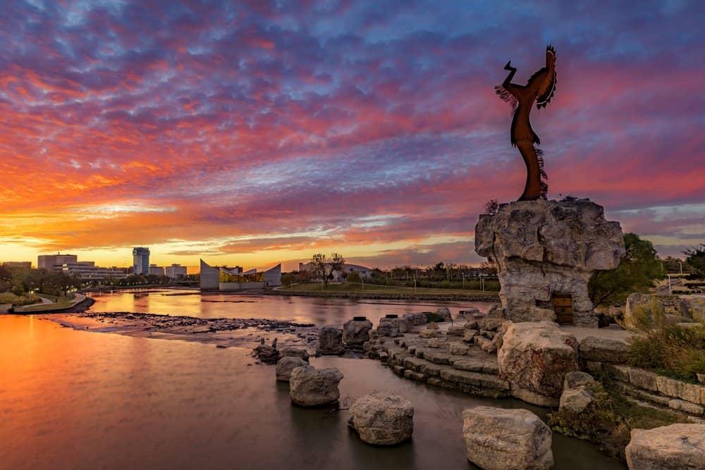 Kansas - Wichita - Keeper of the Plains and City Skyline at Sunrise