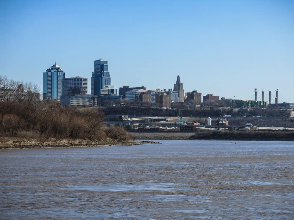Kansas - Kansas City - View of Kansas City, Missouri skyline from Kaw Point park, at the juncture of the Kansas and Missouri rivers.
