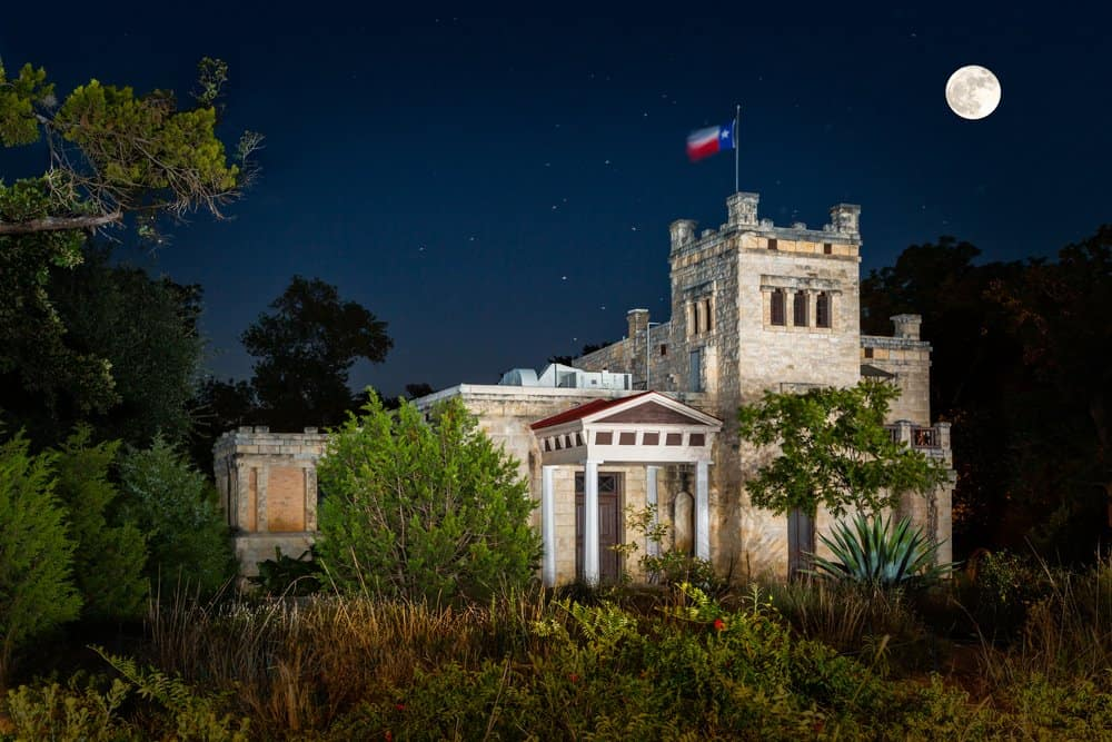 Texas - Austin - Elisabet Ney Museum at night. Elisabet Ney Museum is the former studio of sculptor Elisabet Ney and is dedicated to showcasing her life and works.