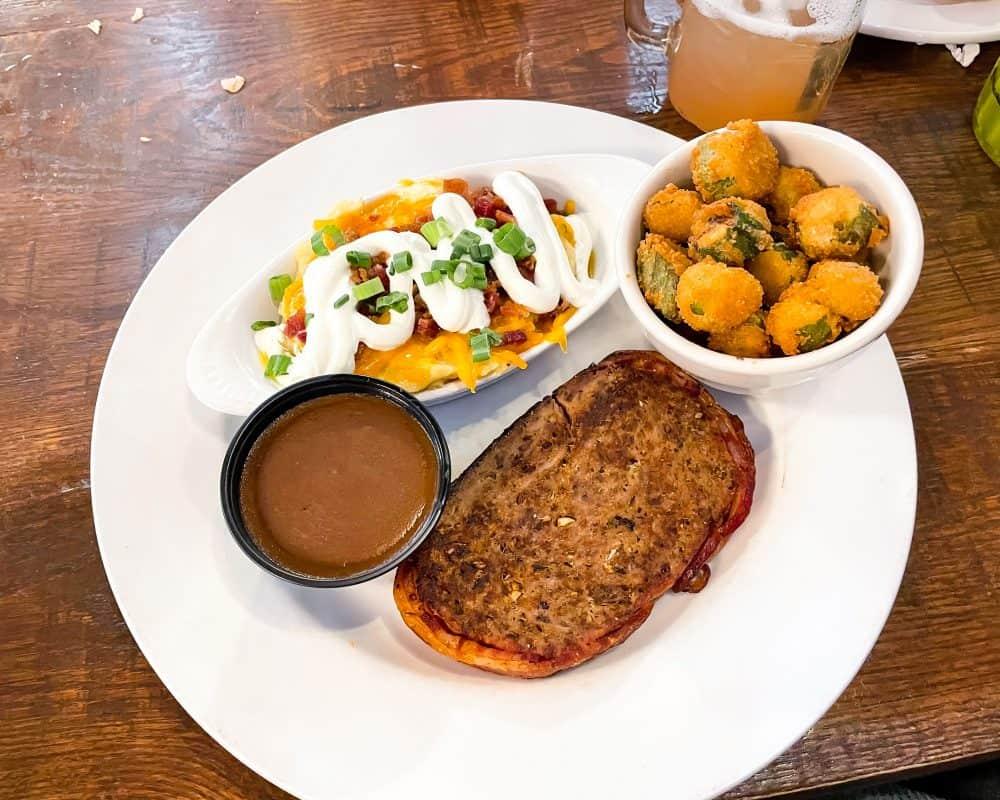 Oklahoma - Yukon - The Lokal - Bison Meatloaf Fried Okra Loaded Mashed Potatoes