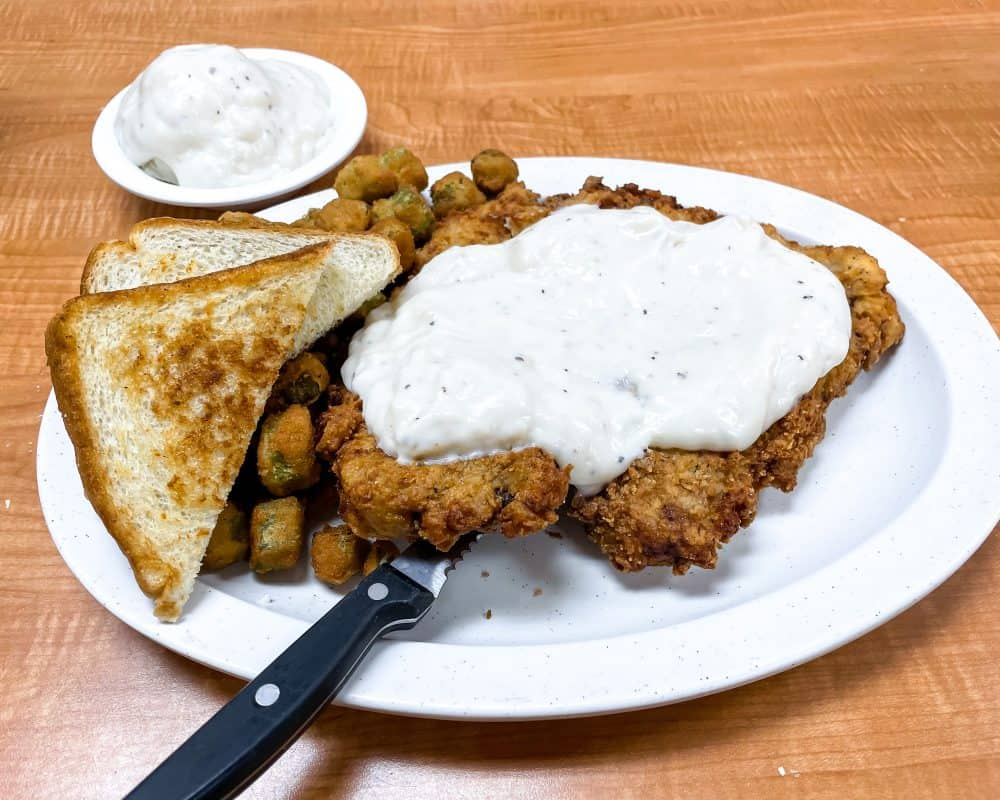 Oklahoma - Prague - Cowpokes - Chicken Fried Steak with Fried Okra and Mashed Potatoes