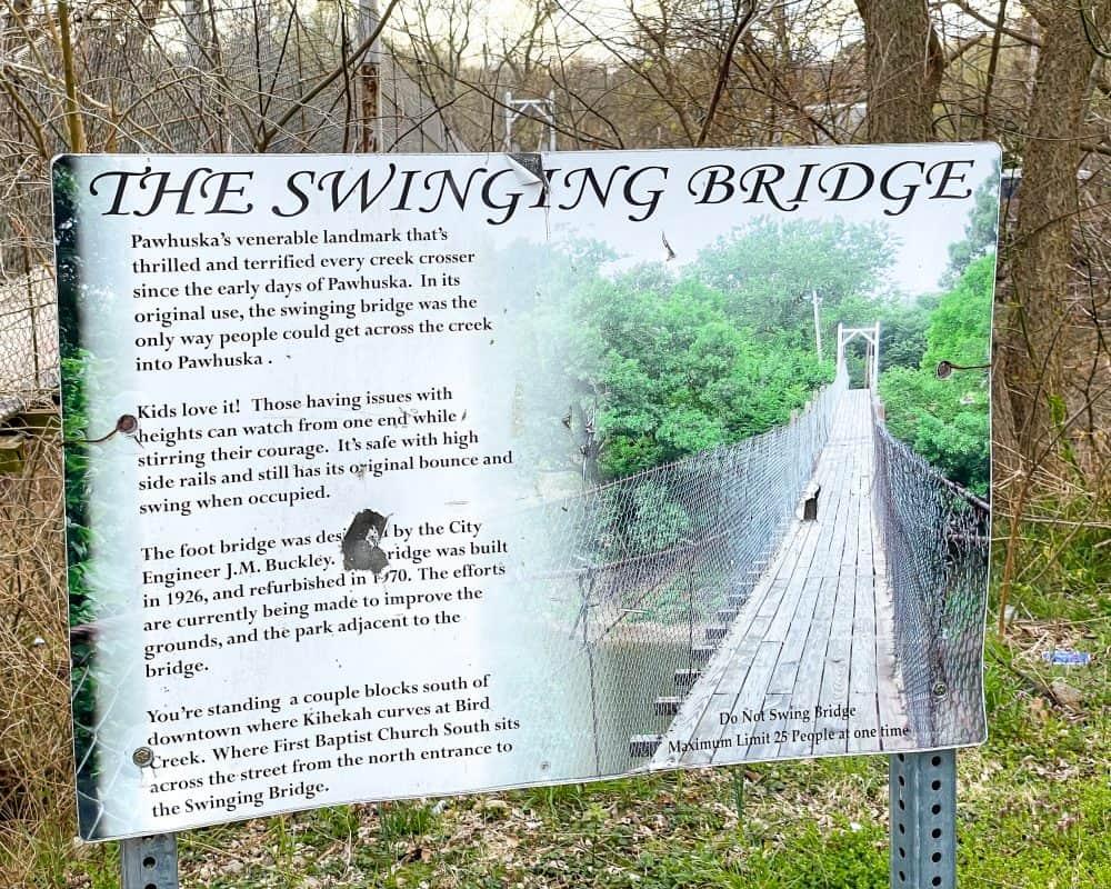 Oklahoma - Pawhuska - Pawhuska Swinging Bridge Sign