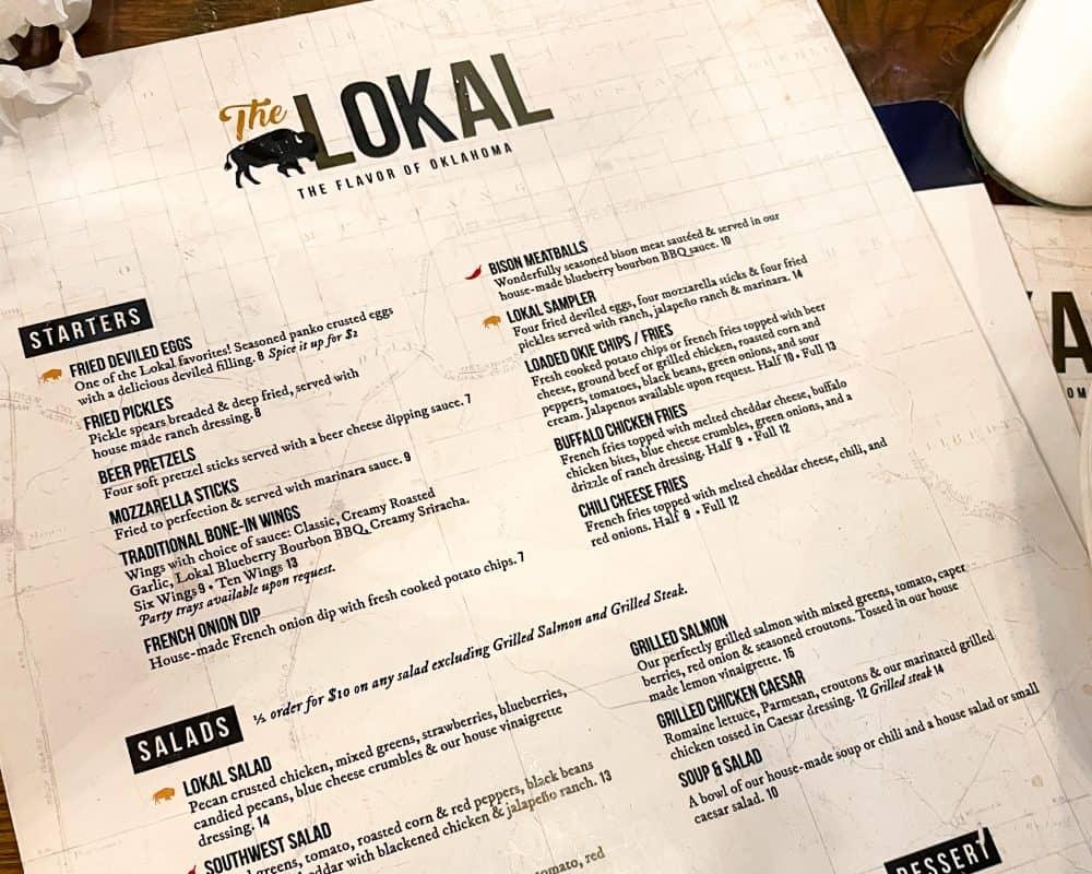 Oklahoma - Yukon - The Lokal Menu