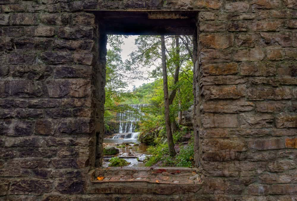 Arkansas - Mountain View - Historic Mill framing waterfall in woods
