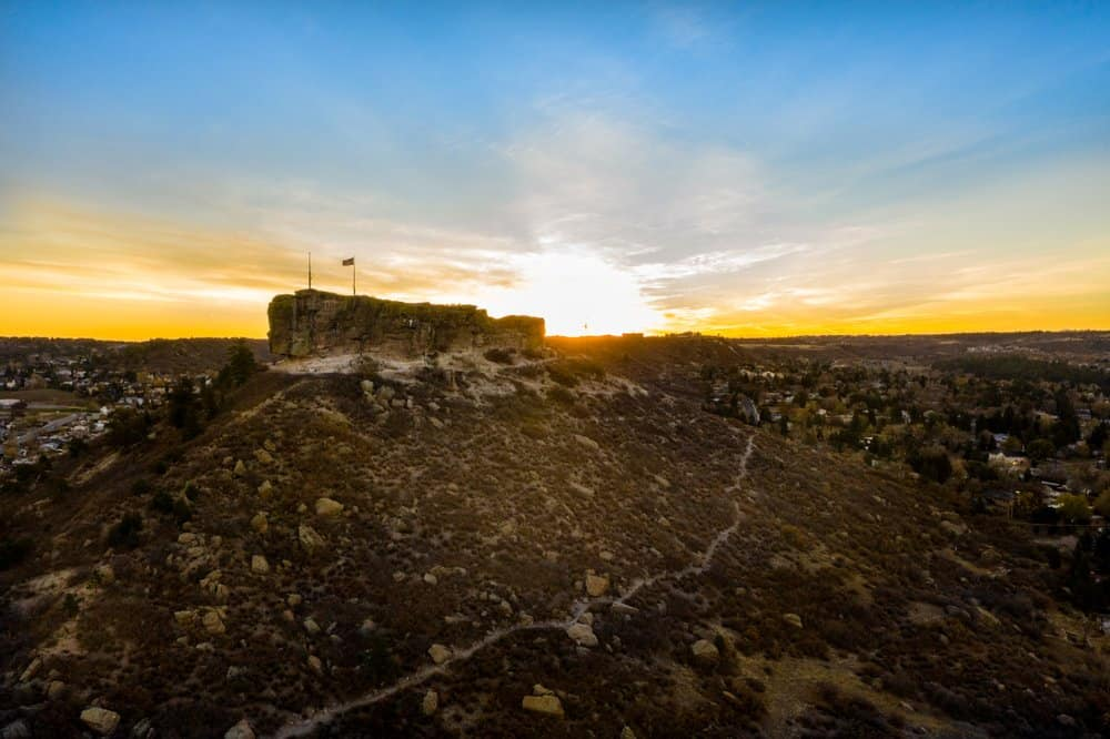 Colorado - Beautiful fall sunrise over The Rock Park in Castle Rock, Colorado.