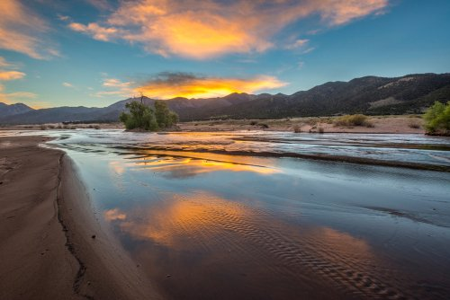 Colorado - Medano Creek at Sunrise in Great Sand Dunes National park