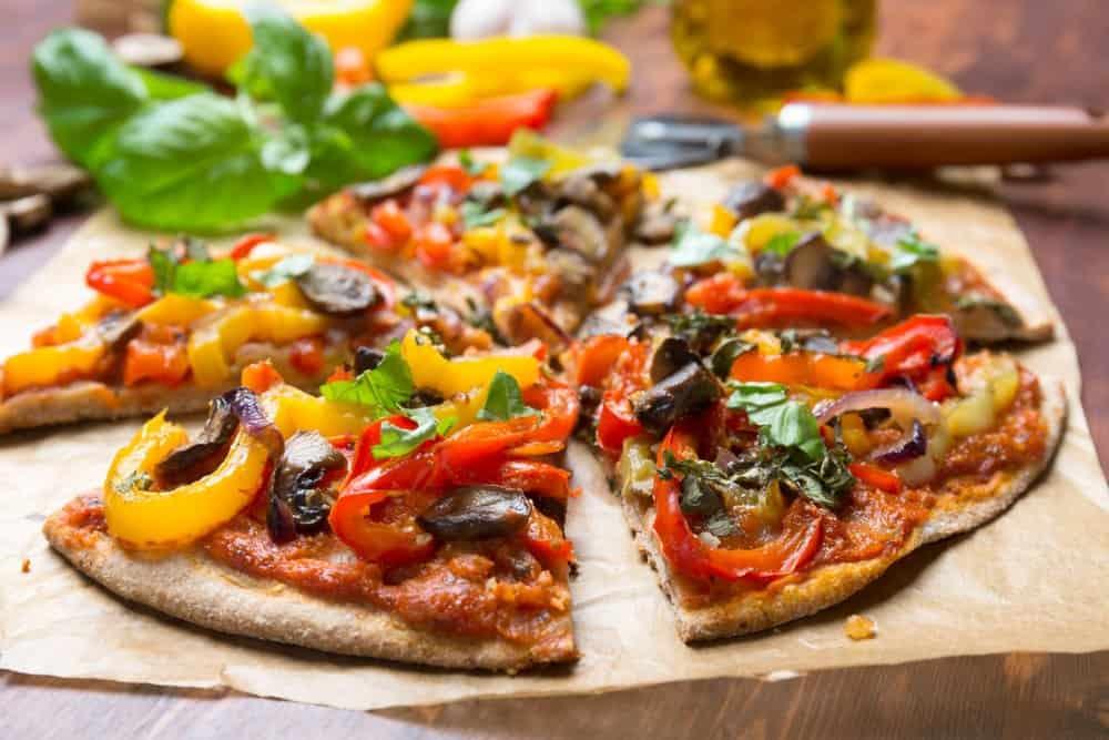 Oklahoma - Tulsa - Vegan Food - Super Healthy Sliced Vegan Whole Grain Vegetables and Mushrooms Pizza