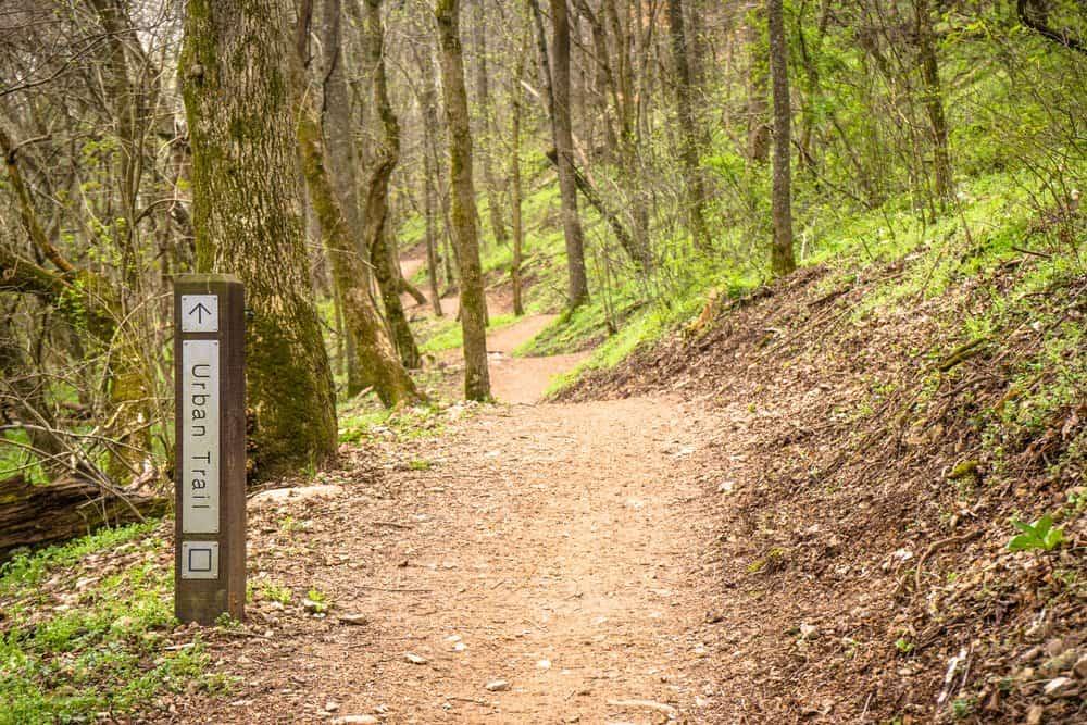 Arkansas - Bentonville, Arkansas mountain biking singletrack trails, blue urban trail at slaughter pen trails cycling MTB