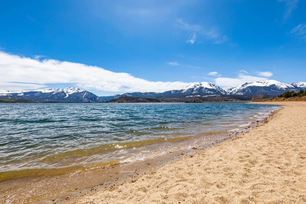 Colorado - Colorado Beaches - Dillon lake reservoir with mountains in Colorado at summer day