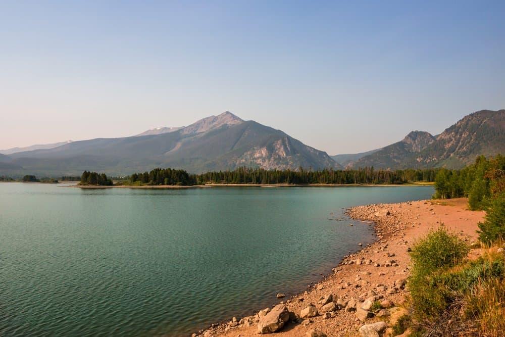 Colorado - Frisco - Scenic Dillon reservoir in Frisco, Colorado. Mountains rise above clear blue water