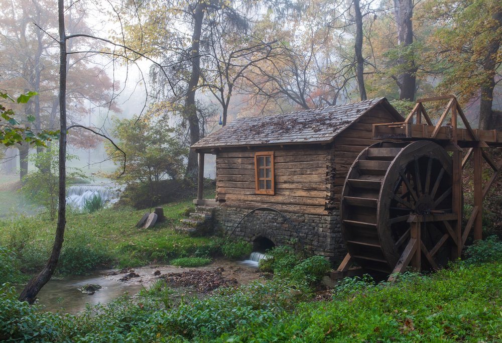 Reed Spring Mill in foggy morning light; Reynolds County, Missouri