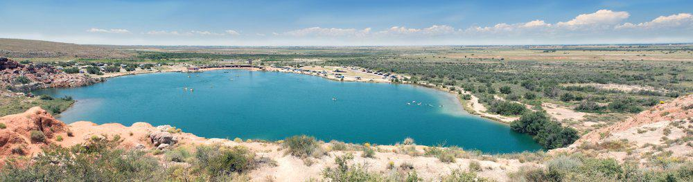 New Mexico - Bottomless Lakes State Park, Roswell, New Mexico, US. View from above