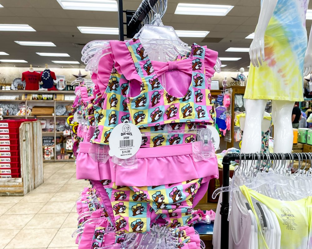 Texas - Temple - Buc-ee's Convenience Store and Gas Station - Girls Bthing Suit with Buc'ee the Beaver on It