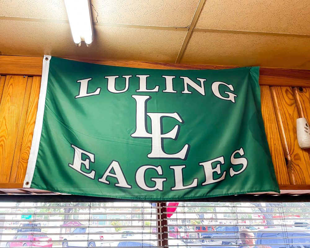 Texas - Luling - Downtown Luling - Original City Market BBQ - Luling Eagles High School Flag