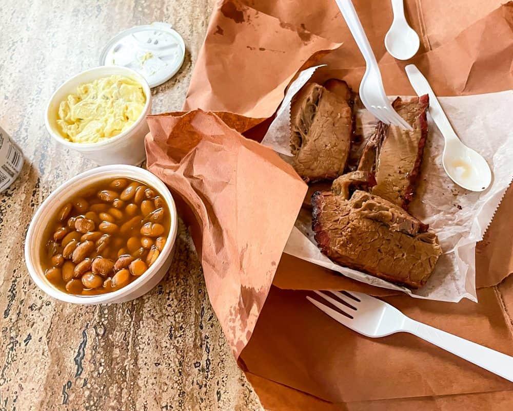 Texas - Luling - Downtown Luling - Original City Market BBQ - Texas Souvenirs - Brisket Beans Potato Salad