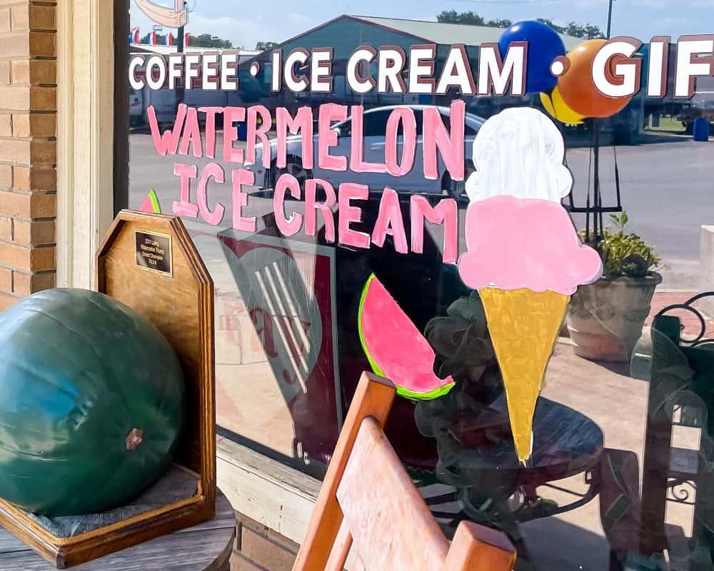 Texas - Luling - Main Street - Watermelon Ice Cream Sign