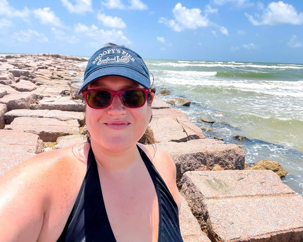 Texas - Corpus Christi - Mustang Island State Park - View from the jetties Stephanie Selfie